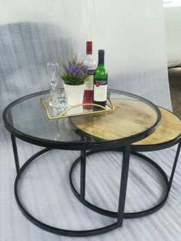 Wooden glass top nesting table